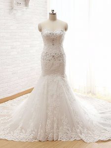 Inexpensive White Mermaid Beading and Lace and Appliques Wedding Dress Lace Up Lace Sleeveless