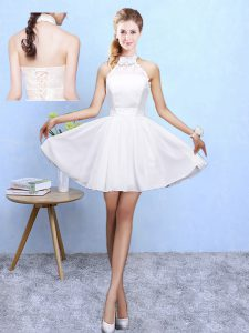 Knee Length Lace Up Damas Dress White for Beach and Wedding Party with Lace
