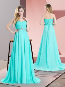 Aqua Blue Sleeveless Beading and Ruching Lace Up