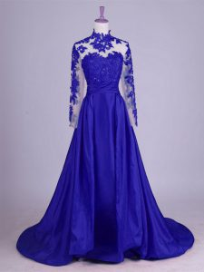 Sleeveless Taffeta Brush Train Lace Up Mother of Bride Dresses in Royal Blue with Lace and Appliques