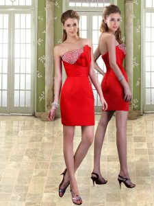 Noble Sweetheart Sleeveless Mini Length Beading Red Taffeta