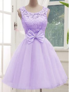 Lavender Tulle Lace Up Scoop Sleeveless Knee Length Quinceanera Court Dresses Lace and Bowknot