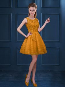 Gold Sleeveless Lace and Ruffled Layers Knee Length Court Dresses for Sweet 16