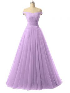 Ideal Tulle Sleeveless Floor Length Evening Gowns and Ruching