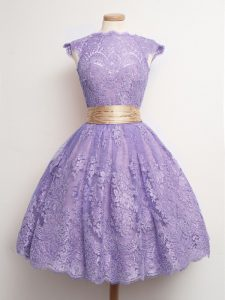 Lavender Lace Up High-neck Belt Wedding Party Dress Lace Cap Sleeves