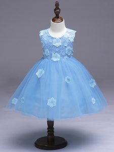 Knee Length Light Blue Flower Girl Dress Scoop Sleeveless Zipper
