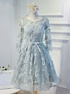 Grey Organza Lace Up Scoop Long Sleeves Knee Length Prom Dress Lace and Appliques and Belt