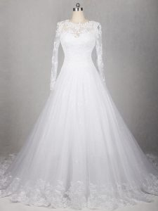 Gorgeous White A-line Scoop Long Sleeves Tulle Brush Train Side Zipper Lace Wedding Dress