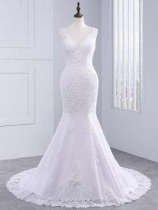 Fancy V-neck Sleeveless Brush Train Backless Wedding Dresses White Tulle