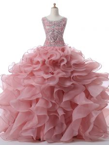 Floor Length Pink Ball Gown Prom Dress Organza Sleeveless Beading and Ruffles
