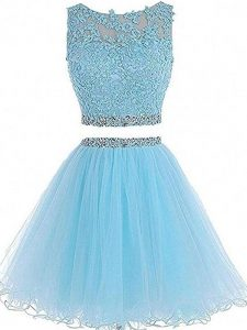 Sleeveless Beading and Lace and Appliques Zipper Homecoming Dress