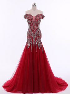 Best Red Mermaid Off The Shoulder Sleeveless Tulle Brush Train Zipper Beading Evening Dress