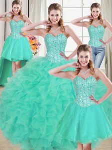 Turquoise Organza Lace Up Sweetheart Sleeveless Sweet 16 Quinceanera Dress Brush Train Beading and Ruffled Layers