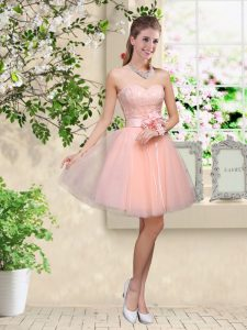 Fantastic Peach Sleeveless Knee Length Lace and Belt Lace Up Quinceanera Dama Dress