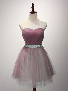 Fantastic Pink A-line Tulle Sweetheart Sleeveless Beading and Ruching Mini Length Lace Up Wedding Party Dress