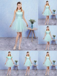 Aqua Blue Lace Up Dama Dress for Quinceanera Appliques Cap Sleeves Mini Length