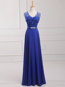 Dynamic Chiffon Sleeveless Floor Length Prom Evening Gown and Beading and Belt