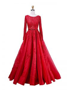 Scoop Long Sleeves Evening Dress Brush Train Beading and Lace Red Taffeta