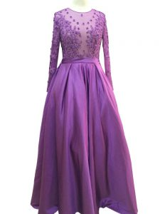 Chic Purple Scoop Zipper Beading and Lace and Appliques Red Carpet Gowns Long Sleeves