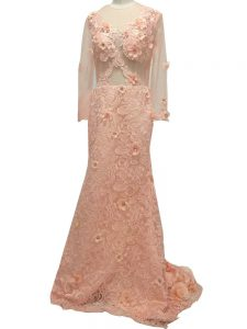 Pretty Peach Mother Dresses Prom and Party and Military Ball and Sweet 16 with Beading and Hand Made Flower Scoop Long Sleeves Brush Train Side Zipper