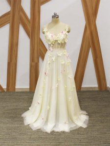 Pretty Tulle Sleeveless Floor Length Prom Gown and Hand Made Flower