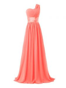 Simple Watermelon Red Sleeveless Ruching Floor Length Quinceanera Court of Honor Dress