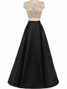 Noble Black Dress for Prom Prom and Party and Wedding Party with Beading Scoop Sleeveless Zipper