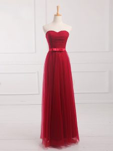 Stylish Sweetheart Sleeveless Lace Up Quinceanera Court Dresses Wine Red Tulle and Lace