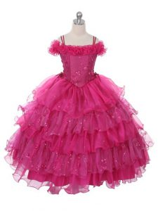 Floor Length Fuchsia Little Girls Pageant Dress Wholesale Organza Sleeveless Ruffles and Ruffled Layers