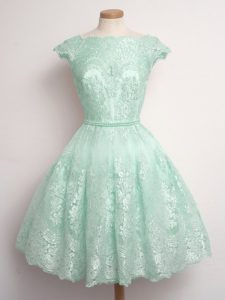 Suitable Lace Bridesmaids Dress Apple Green Lace Up Sleeveless Knee Length