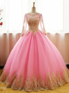 Smart Pink Ball Gown Prom Dress Sweet 16 and Quinceanera with Appliques Scoop Long Sleeves Lace Up