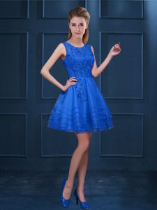 Beautiful Sleeveless Knee Length Lace and Ruffled Layers Zipper Quinceanera Court Dresses with Blue