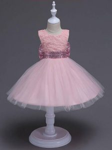 Elegant Knee Length Zipper Party Dress Baby Pink for Wedding Party with Lace and Bowknot