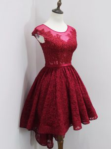 High Low Zipper Quinceanera Court of Honor Dress Wine Red for Prom and Party and Wedding Party with Beading and Lace