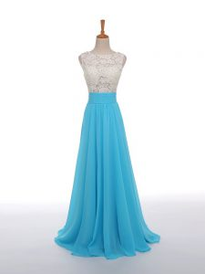 Baby Blue Going Out Dresses Prom and Sweet 16 with Lace and Appliques Scoop Sleeveless Side Zipper