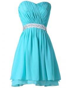 Fashion Aqua Blue Chiffon Lace Up Homecoming Dress Sleeveless Mini Length Beading and Ruching