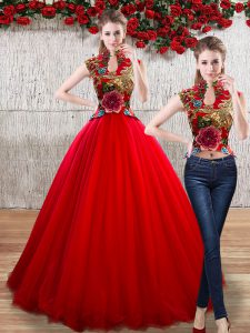 Designer Red High-neck Lace Up Appliques Quinceanera Gowns Sleeveless