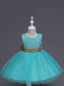 Unique Aqua Blue Scoop Zipper Lace and Bowknot Flower Girl Dresses for Less Sleeveless