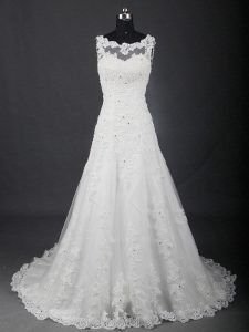 Lace Up Wedding Gown White for Wedding Party with Lace Brush Train