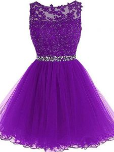 Eggplant Purple A-line Tulle Scoop Sleeveless Beading and Ruffles Mini Length Zipper