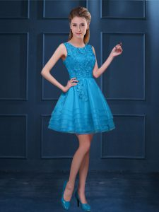 Scoop Sleeveless Vestidos de Damas Knee Length Lace and Ruffled Layers Baby Blue Tulle