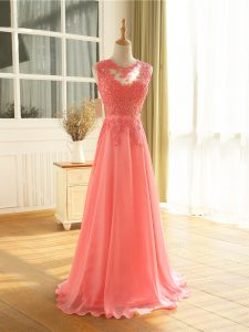 Sleeveless Beading and Lace and Appliques Zipper Formal Dresses