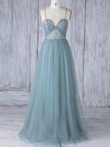 Spaghetti Straps Sleeveless Tulle Bridesmaids Dress Appliques Criss Cross