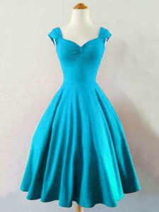 Baby Blue A-line Taffeta Straps Sleeveless Ruching Knee Length Lace Up Wedding Guest Dresses
