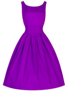 Purple A-line Scoop Sleeveless Taffeta Knee Length Lace Up Ruching Quinceanera Dama Dress