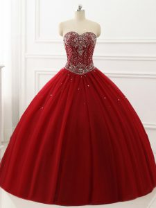Wine Red Sleeveless Beading Floor Length 15th Birthday Dress