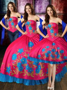 Best Selling Hot Pink Taffeta Lace Up 15 Quinceanera Dress Sleeveless Floor Length Embroidery