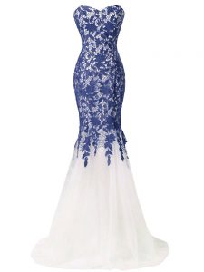 Most Popular Blue And White Tulle Lace Up Sweetheart Sleeveless Evening Outfits Brush Train Lace and Appliques