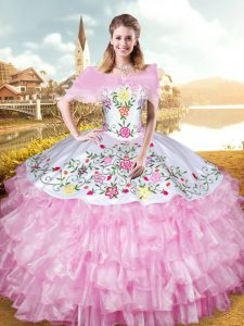 Sleeveless Organza Floor Length Lace Up Quinceanera Gown in Rose Pink with Embroidery and Ruffled Layers
