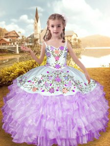Sleeveless Floor Length Embroidery and Ruffled Layers Lace Up Casual Dresses with Lilac
